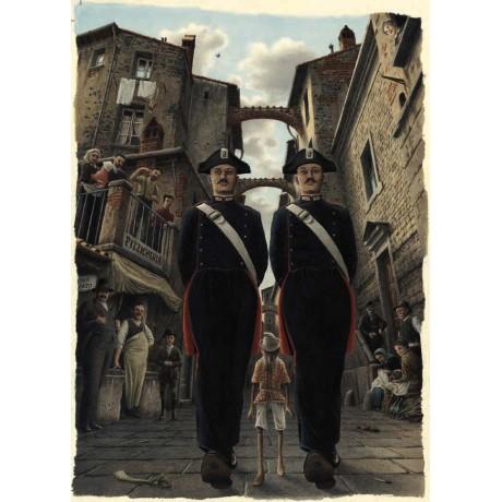 Stampa d'arte Roberto Innocenti-Pinocchio e i Gendarmi
