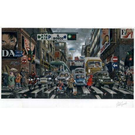 Stampa d'arte Roberto Innocenti - Cappuccetto rosso in città