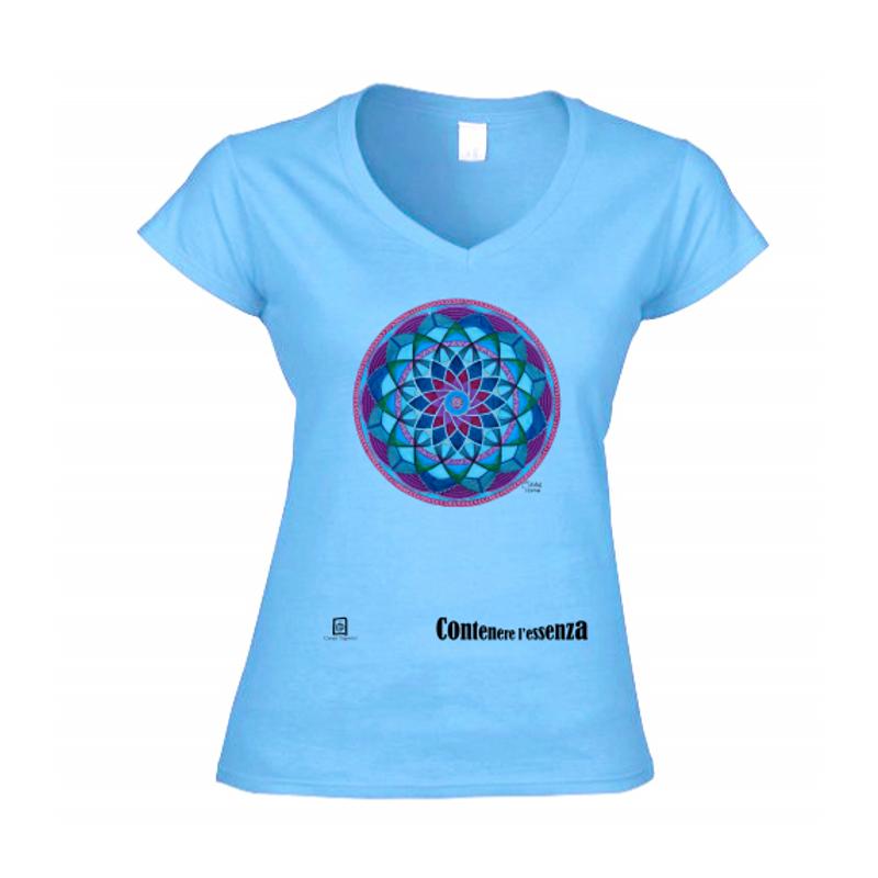 tshirt donna scollo a V azzurro chiaro