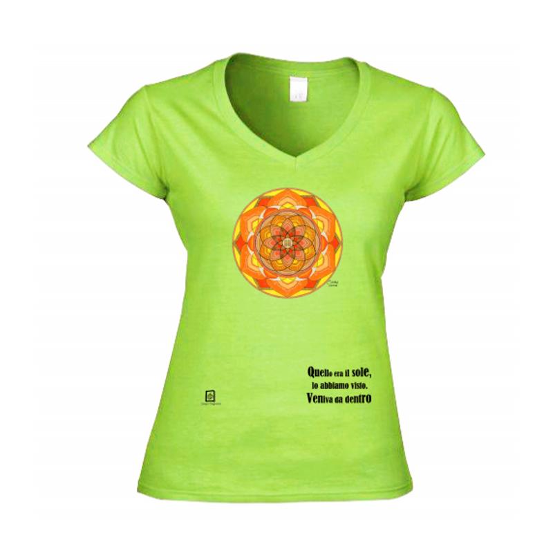 tshirt scollo a V verde kiwi