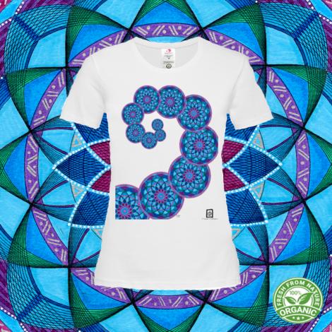 SPIRALE AUREA tshirt-mandala organic donna